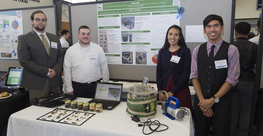 Team Biocraft presents their concept for repurposing the woody debris on forest floors at the spring 2017 Innovate to Grow.