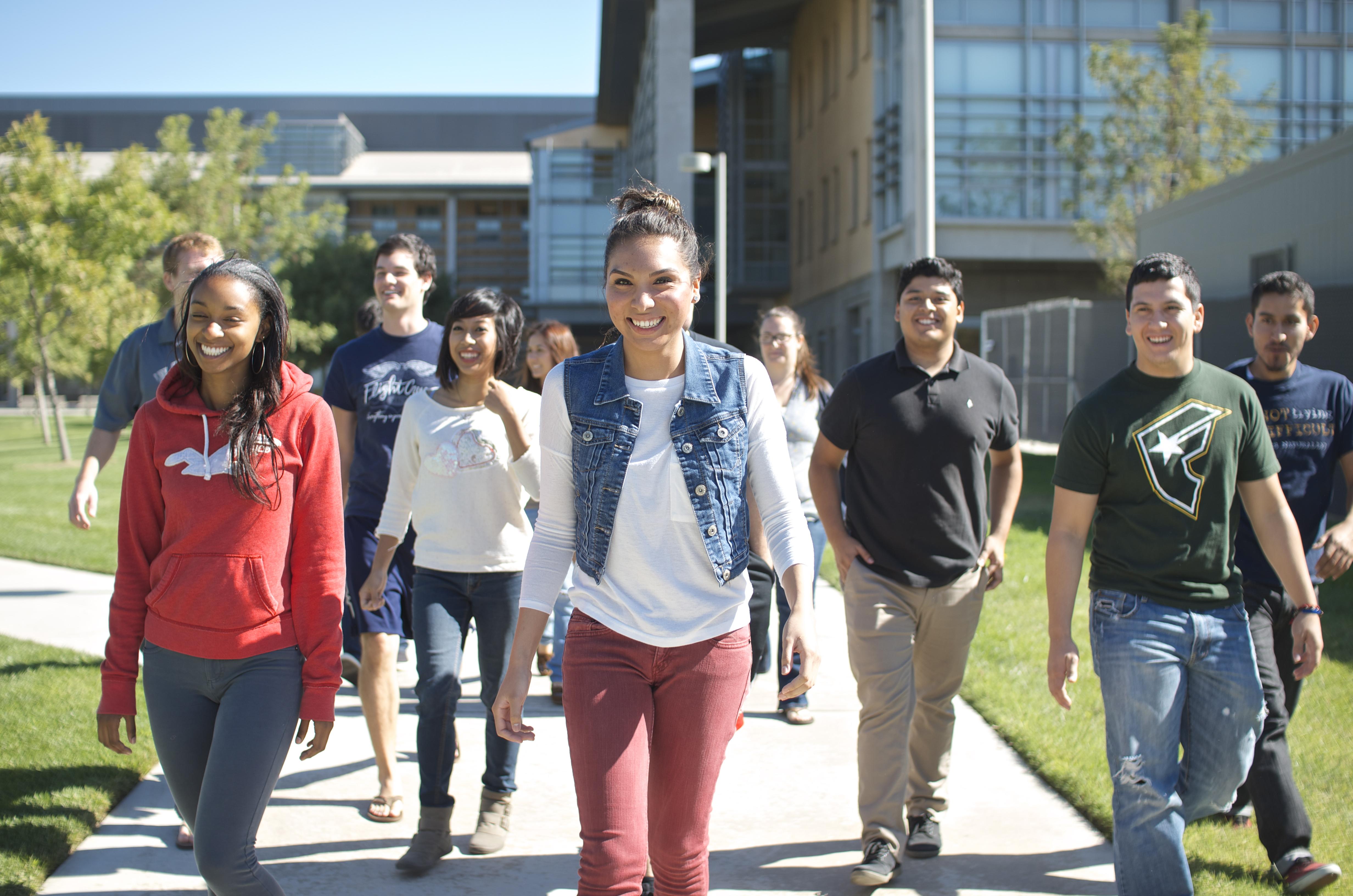 UC Merced students walking through campus
